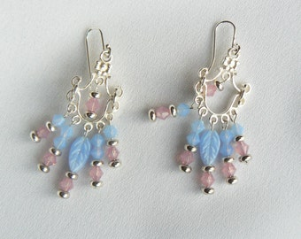 Chandelier silver, blue and pink earrings