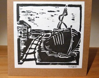 "Card ""Hastings, Beached"" Lino Print"
