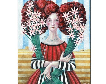 Girl with White Flowers Fine Art Print