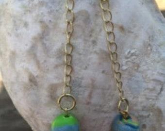 Dangle ball and chain earrings