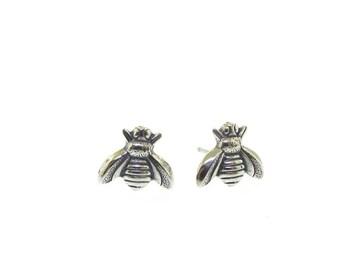 Buzz Worthy Stud Earrings, sterling silver bee earrings by Kathryn Riechert
