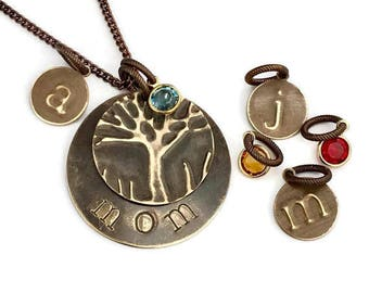 Personalized Family Tree Necklace  Birthday Mom Gift Monogram Initial Stamped Necklace Personalized Necklace Boho Necklace Custom Mom Gift