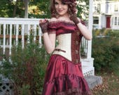 Burgundy Steampunk Dress | Summer Dreams | High Low Dress, Tea Party Outfit, Off Shoulder Gowns, Gothic Corset Dress, Bohemian Dresses