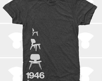 Men's TShirt Eames Plywood Chair 1946, Mid Century Modern, Eames Chair Shirt, S,M,L,Xl,Xxl American Apparel, Black (4 Colors) TShirt for Men