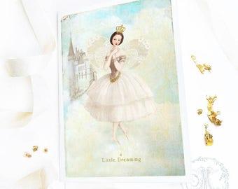 Fairy card, ballerina birthday card, Christmas card, fairy tale, dreaming, castle in the clouds