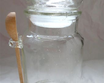 Bubble Lid Jar with Hanging Wooden Spoon - Vintage 1970s MOD Bottle Bath Salts or Coffee Sealed Lid