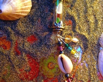 Mermaids Song to the Sun - Vintage look Genuine San Francisco real Sea Glass bottle pendant