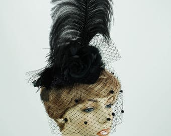 Black Feathered Hat Fascinator with Ostrich Feathers and Black Silk Rose Veiled on a Felt Base