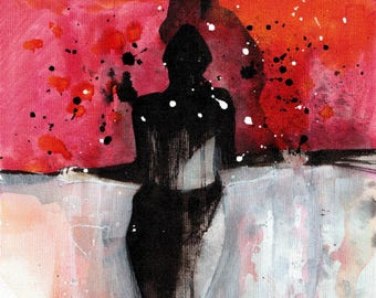 Abstract nude figure painting, female -  A4, 21x30cm,8x12in, canvas sheet