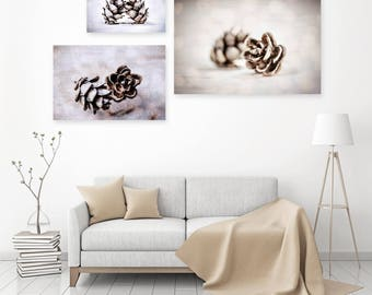 PINECONE Photo TRIO, Neutral Holiday Décor, Pinecones in Snow Photograph, Black and White, Winter Photography, Cabin Décor Christmas Artwork