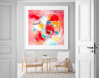 Wall art abstract painting giclee PRINT, Tangerine colorful modern abstract print, Large abstract modern painting print, office wall art