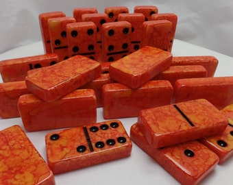 Dominoes 'Fire Lake' Hand Painted 28 Piece Deluxe Professional Size Double Six Domino Set in veneer case with latch, alcohol inks, orange