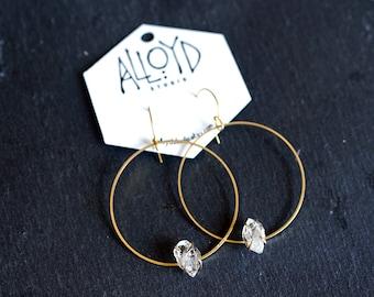 LILITH / Tibetan Quartz Hoop Earrings, Herkimer Diamond, Gold Hoop Earrings, Raw Crystal Earrings, Boho Hoop Earrings, Modern Bohemian