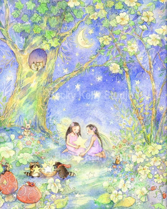 Girls room print, Gathering Stars- dark hair fairies  8 X 10 Print
