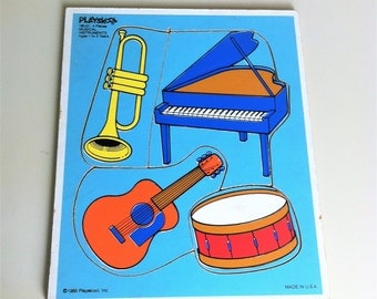 1985 Playskool Musical Instruments Puzzle , Music Education Puzzle , Retro Jig Saw Puzzle , 4 Piece Vintage Kids Puzzle