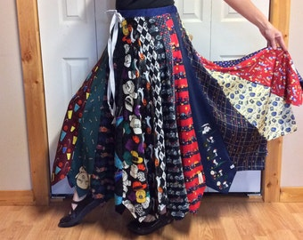 Unique Necktie Skirt made from Mens Ties/Long Silk Skirt/School Teacher/Upcycled Recycled Repurposed/Womens Size Sm-Med