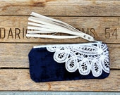 MidNight Blue Keepsake Mini Clutch / shabby chic makeup bag / cowgirl western cell phone pouch / leather fringe organizer / bridal gift