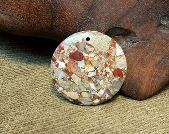 Natural Snakeskin Jasper Round Coin Disc