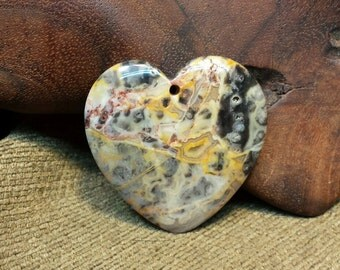 Natural White Yellow Brown Crazy Lace Agate Druzy Heart