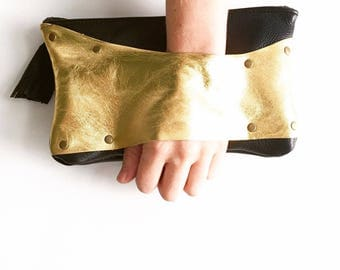 Metallic Gold and Black Leather Clutch with Hand Strap Evening Bag