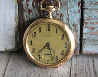 Antique Illinois Yellow Gold Filled Pocket Watch 1923 by avintageobsession on etsy...FREE USA Shipping