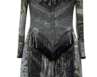 Cashmere long Sweater COAT, fantasy boho, wearable art clothing, up cycled OOAK, refashioned patchwork Eco-Couture. Size S/M. Ready to ship