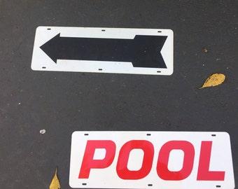 VINTAGE METAL SIGNs, SOLD Separately, Vintage Pool Sign, Arrow Sign, Vintage Signs, Vintage Signage, Metal Sign at A Vintage Revolution