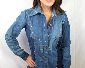 Vintage 70s Wild Studded Denim Button Up Jacket Top - French Dressing Co.