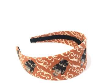 Burnt Orange & Brown Owl Headband  - Fall Back to School Headband - Choose width from Skinny to Wide - Girls Headbands, Adult Headbands