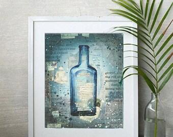 Message in a Bottle No. 24 | Mixed Media Art | Ocean Beach Word Art | Sea Glass | Bottle | Hand-Lettered Typography | Ocean Wall Art