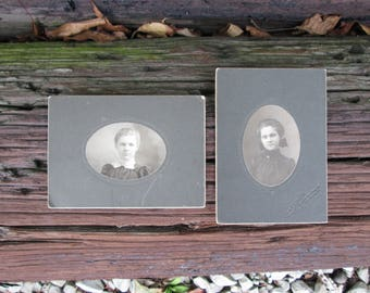 Vintage Black and White Photographs Women Oval Photo on Mat Board