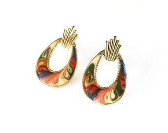 Vintage Enamel Earrings, Pierced Earrings, Vintage Monet Earrings, Unique Vintage Earrings, Vintage Gifts, Womens Earrings, Gold Earrings