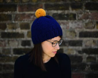 Hand Knitted Pom Pom Hat, Women's Bobble Hat, Men's Bobble Hat, Unisex Hat, Teen Hat, Ski Hat, Chunky Winter Hat, Navy and Gold