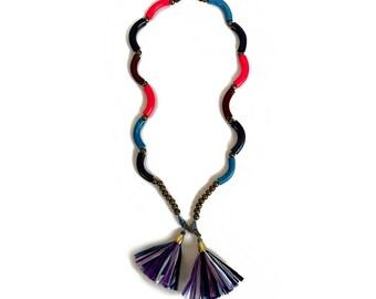 Beaded Tassel Necklace, Summer Boho Statement Necklace, Polymer Clay Raffia Necklace, Lariat Necklace
