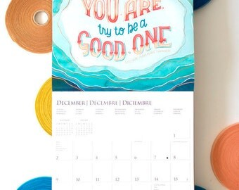 2018 Monthly Poster Wall Calendar,Colorful Home Organization, Gift for Her Under 15, Teen Dorm Room Decor,Modern Typography Illustration Art