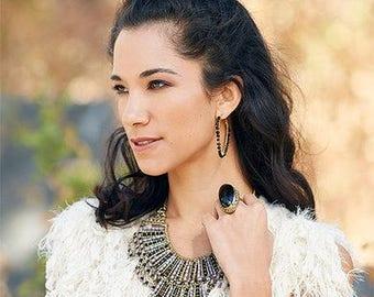 Black & Gold Hoop Earrings,Large gold hoop Earrings,Minmalist Earrings,boho Earrings,bohemian jewelry by Taneesi