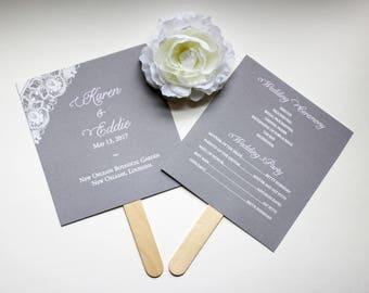 Lace Wedding Fan Programs, Gray Wedding Program Fans,  Lilac Fans, Fan Wedding Program,  Lace Program Fan - Taylor Lilac Program Fan SAMPLE