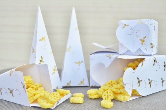 Gold Foil Honey Bee Boxes for Confetti, Small Gift, or Party Favors - Choose from Heart Topped Boxes, Cones, or Heart Handled Bags.