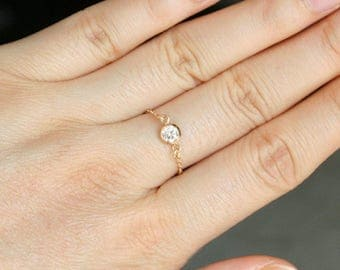 Tiny Diamond Ring , 14K Gold Filled CZ ring , Stacking Ring , Chain Ring , Sterling Silver , Gold Ring , Silver Diamond , Thin Delicate