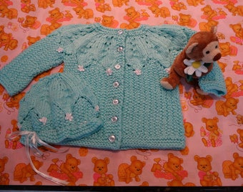 BABY CARDIGAN and  HAT set, Star Bright,Aqua yarn, size 12 to 18 months ,7 blue buttons, white satin ribbon trim, acrylic baby yarn