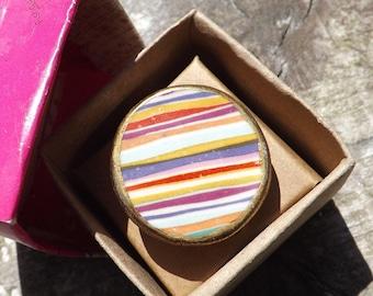 Candy stripe porcelain disc ring, quirky ring, statement ring, ceramic ring, boho ring,