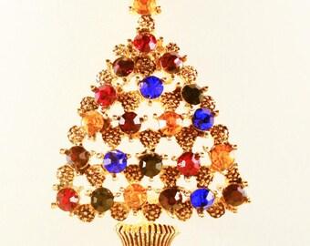 Christmas Tree Brooch, Vintage Jewelry, Christmas Jewelry, Rhinestone Christmas Pin, Colorful Holiday Brooch, Gold Tone Rhinestone Tree Pin