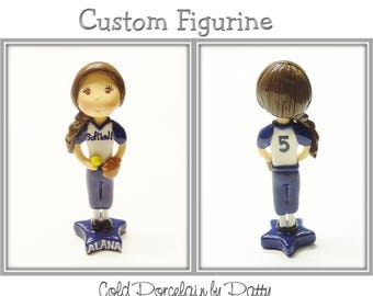 Custom Softball Player Cake Topper, Personalized Cold Porcelain Clay Girl Figurine, Softball Cake Topper, Baseball  Cake Topper, Keepsake