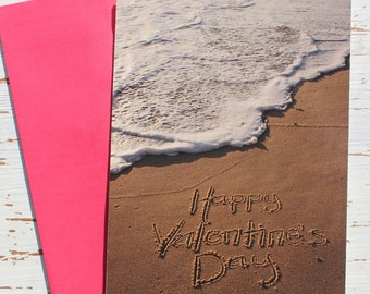 Happy Valentine's Day Beach Writing Card, Valentines Day, Ocean, Beach, Photo Card,