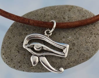 Sterling Silver Eye of Horus Amulet Necklace- Egyptian protection charm, thick leather cord- pick leather color & length- Free shipping USA