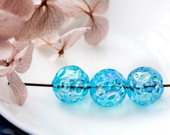Vintage Glass Beads Aqua Blue AB Dimpled Textured West German Glass Beads 11mm
