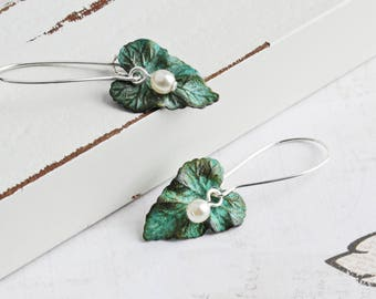 Small Green Patina Leaf Earrings on Silver Plated Hooks, Custom Pearl Color