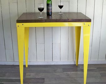 Up-cycled Industrial Style Bistro Table, Tall Table, Standing Work Station - Yellow Steel & Reclaimed Wood