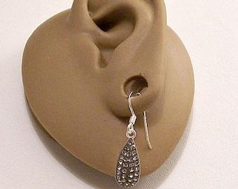 Sterling Silver Marked 925 Teardrop Crystal Encrusted Dangle Wire Pierced Stud Earrings Vintage Clear Faceted Stones Dangle Drops