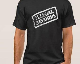 Illegal  Records     T shirt screen print short sleeve     shirt cotton